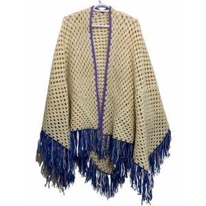 Vintage Fringed Knit Shawl Crocheted Wrap Beige OS